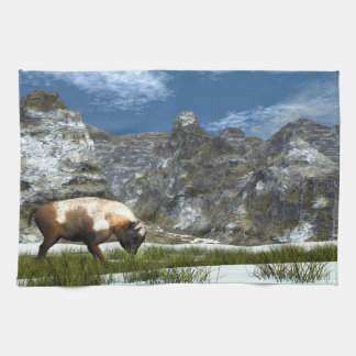 Bison im Berg Geschirrtuch