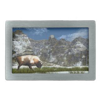 Bison im Berg Rechteckige Gürtelschnalle