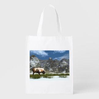 Bison im Berg Wiederverwendbare Einkaufstasche