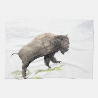 Bison im Wintersturm Geschirrtuch