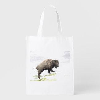 Bison im Wintersturm Wiederverwendbare Einkaufstasche