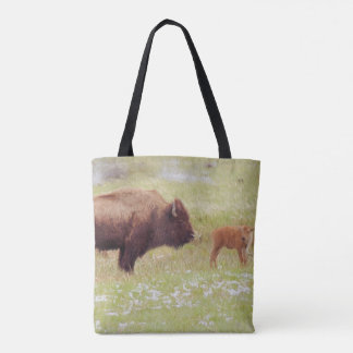 Bison und Kalb in Yellowstone Nationalpark Tasche