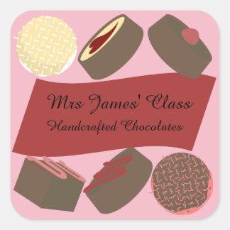 Biss-Size Schokoladen Quadratischer Aufkleber