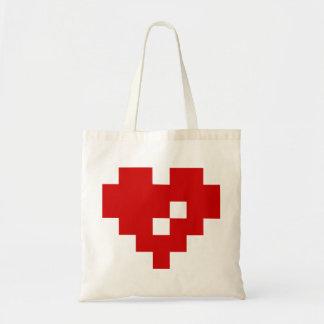 Bit-Liebe des Pixel-Herz-8 Tragetasche
