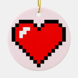 Bit-Pixel-Kunst des Herz-Dieb-8 - lustiger Geeky Keramik Ornament