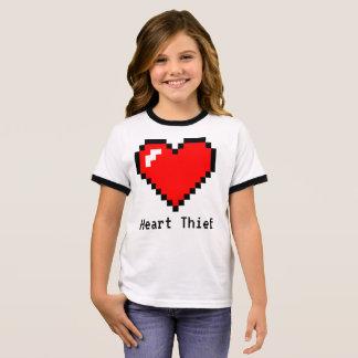 Bit-Pixel-Kunst des Herz-Dieb-8 - lustiger Geeky Ringer T-Shirt