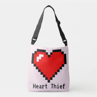 Bit-Pixel-Kunst des Herz-Dieb-8 - lustiger Geeky Tragetaschen Mit Langen Trägern