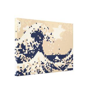 Bit-Pixel-Kunst des Pixel-Tsunami-8 Leinwanddruck