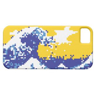 Bit-Pixel-Kunst des Pixel-Tsunami-Blau-8 iPhone 5 Etui