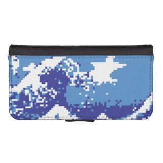 Bit-Pixel-Kunst des Pixel-Tsunami-Blau-8 iPhone SE/5/5s Geldbeutel