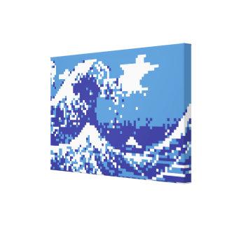 Bit-Pixel-Kunst des Pixel-Tsunami-Blau-8 Leinwanddruck