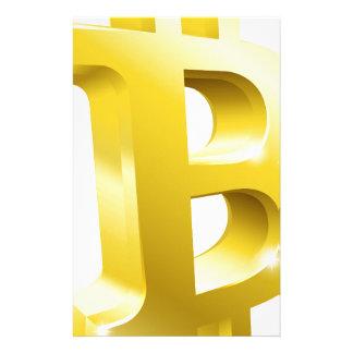 Bitcoin 3d Goldsymbol-Zeichen Briefpapier