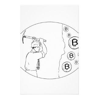 Bitcoin Bergmann Cryptocurrency Zeichnen Briefpapier