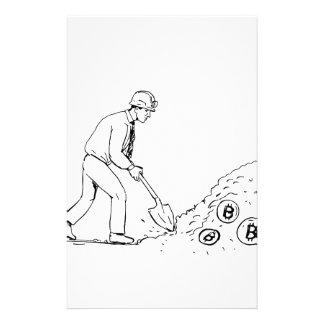 Bitcoin Bergmann, der Cryptocurrency Zeichnen Briefpapier