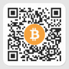 Bitcoin (BTC) Code-Aufkleber Geldbörsen-QR - Quadratischer Aufkleber