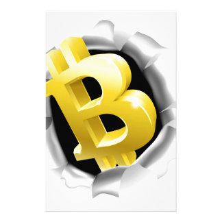 Bitcoin, das Hintergrund-Wand-Konzept bricht Briefpapier