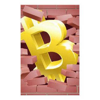 Bitcoin, das Wand-Konzept bricht Briefpapier