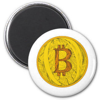 Bitcoin Gekritzel-Kunst Runder Magnet 5,7 Cm