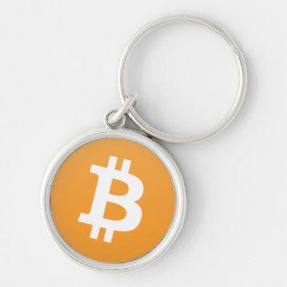Bitcoin Logo in Orange und in weißem Schlüsselanhänger