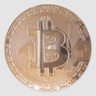 Bitcoin metallic made of copper. M1 Runder Aufkleber