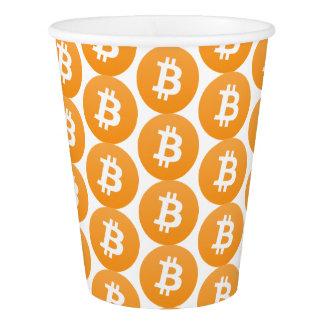 Bitcoin Partyschale mit orange und weißem Logo Pappbecher