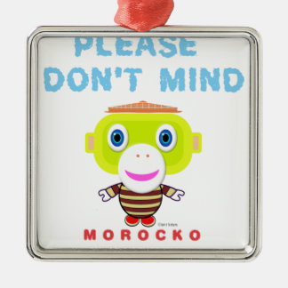 Bitte nicht tun Verstand-Niedlicher Affe-Morocko Silbernes Ornament