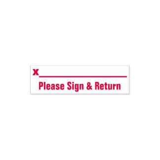 """""""Bitte unterzeichnen Sie u. gehen Sie"""" zurück + Taschenstempel"""