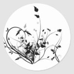 Black And White Flowers Round Stickers