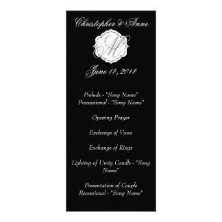 Black and White Monogram Wedding Ceremony Program Werbekarte