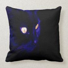 Black Cat Photograph, Halloween Eyes Pillow