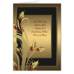 Black Gold Holly Christian Christmas Cards