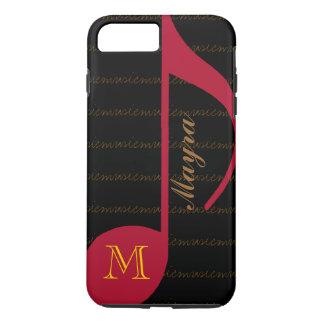 black&red Musikanmerkung personalisiert iPhone 8 Plus/7 Plus Hülle