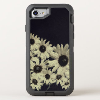 Black&White abstrakte Sonnenblumen OtterBox Defender iPhone 8/7 Hülle