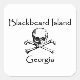 Blackbeard Insel-Georgia-Piratenflagge Quadratischer Aufkleber