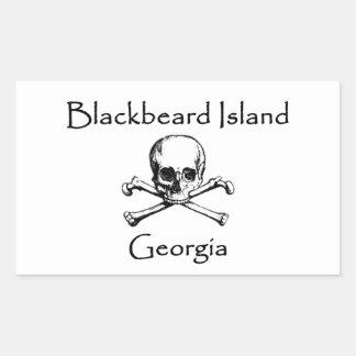 Blackbeard Insel-Georgia-Piratenflagge Rechteckiger Aufkleber