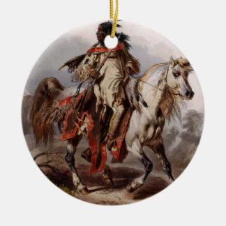 Blackfoot Inder auf dem arabischen Pferd, das Keramik Ornament