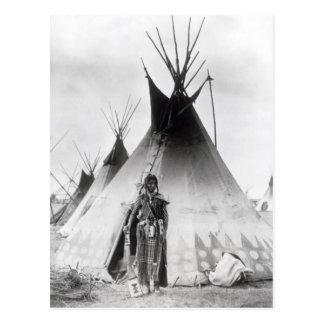 Blackfoot tapferes, nahe Calgary, Alberta, 1889 Postkarte