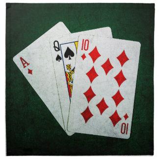 Blackjack 21 Punkt - As, Königin, zehn Serviette