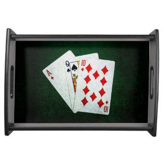 Blackjack 21 Punkt - As, Königin, zehn Tablett