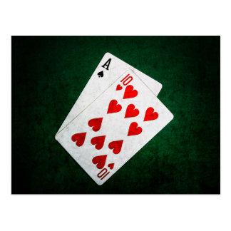 Blackjack 21 Punkt - As, zehn Postkarte