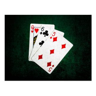 Blackjack 21 Punkt - Königin, sechs, fünf Postkarte