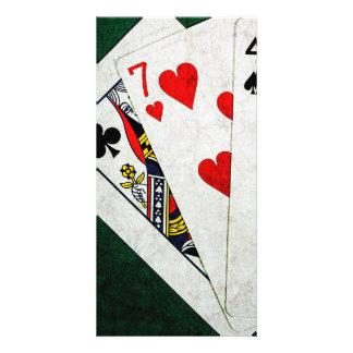 Blackjack 21 Punkt - Königin, sieben, vier Karte