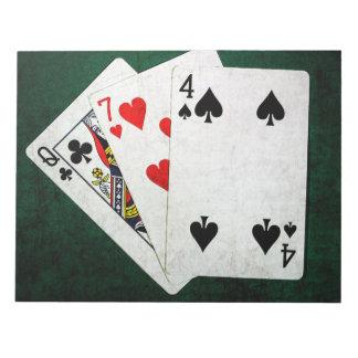 Blackjack 21 Punkt - Königin, sieben, vier Notizblock
