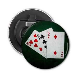 Blackjack 21 Punkt - zehn, neun, zwei Runder Flaschenöffner