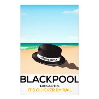 """Blackpool """"küssen mich schnell"""" Hutreise-Zugplakat Briefpapier"""