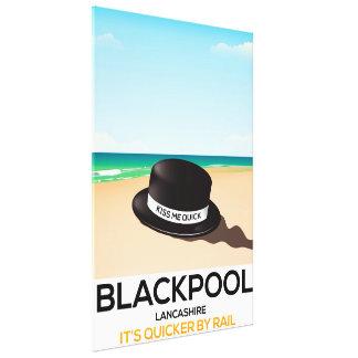 """Blackpool """"küssen mich schnell"""" Hutreise-Zugplakat Leinwanddruck"""