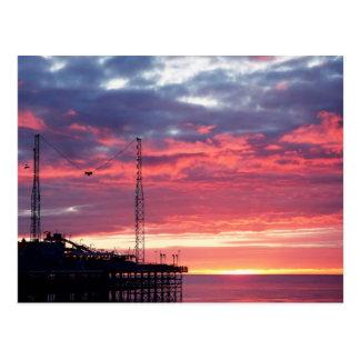 Blackpool-Sonnenuntergang (Vereinigtes Königreich) Postkarte