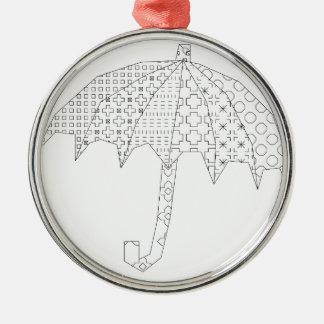 blackwork Regenschirm Silbernes Ornament