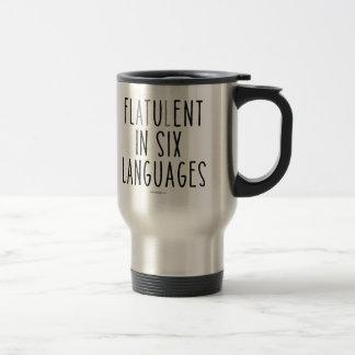 Blähend in sechs Sprachen Reisebecher