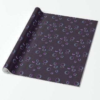 Blasen auf schwarzem Hintergrund, Farbbleistift Einpackpapier